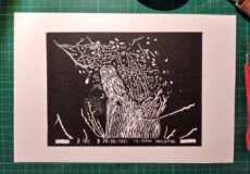 Our tawny owl – on linoprint